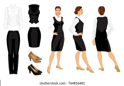 Vector illustration of corporate dress code. Business woman or professor in  formal clothes. Front view, side and back view. White shirt, black pants, vest, ski and shoes isolated on white background.