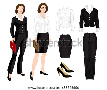 Vector illustration of corporate dress code. Business woman or teacher  isolated isolated on white background. Formal clothes and classic shoes -  Vector 1603ca283