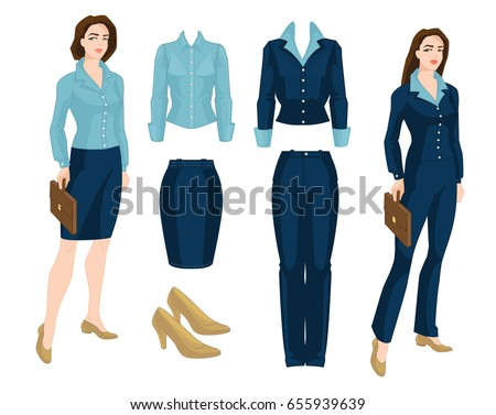 Vector illustration of corporate dress code. Business people isolated  isolated on white background. Blue formal clothes and classic shoes - Vector 93e9e80ad