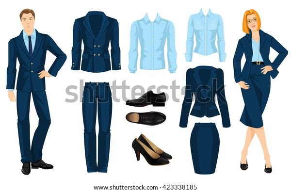 6cf9198d8c42 Vector illustration of corporate dress code. Business people isolated  isolated on white background. Blue