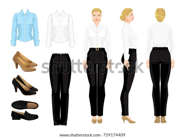 2f170e75b7 Vector illustration of corporate dress code. Business woman or professor in  formal clothes. Front