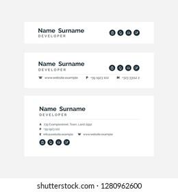 Vector Illustration Of Corporate Email Signature Design. Black Minimal Design.