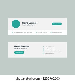 Vector Illustration Of Corporate Email Signature Design. Green Mint Modern Design.