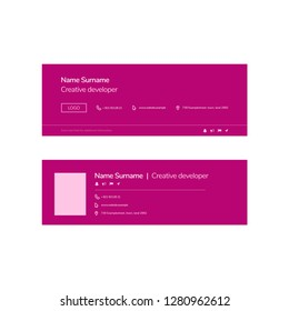 Vector Illustration Of Corporate Email Signature Design. Pink Minimal Design.