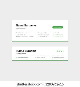 Vector Illustration Of Corporate Email Signature Design. Green Minimal Design.
