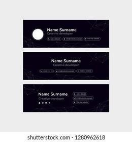 Vector Illustration Of Corporate Email Signature Design. Futuristic Design.