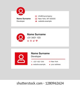 Vector Illustration Of Corporate Email Signature Design. Red Modern Design.