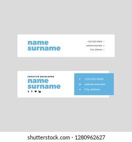 Vector Illustration Of Corporate Email Signature Design. Blue Bold Creative Design.