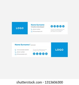 Vector Illustration Of Corporate Email Signature Design. Blue Signature With A Lot Of Space For Information.