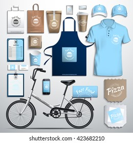 Vector illustration corporate identity, fast food, delivery bike. Corporate identity design template