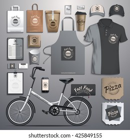 Vector illustration corporate identity, fast food, delivery bikes. Template designs of corporate style in dark colors