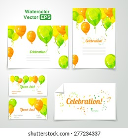 Vector illustration. Corporate identity of festive balloons on white background. Celebratory balloons. Watercolor celebratory balloons. Happy Birthday.