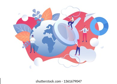 Vector Illustration Correlation Analysis Cartoon. Men and Women look through Magnifier at Planet. Detection Unknown Causal Relationships. Young People Analyze Data from around World.