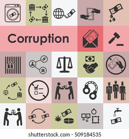 vector illustration of corruption icons set including bribery embezzlement fraud symbols and pictograms