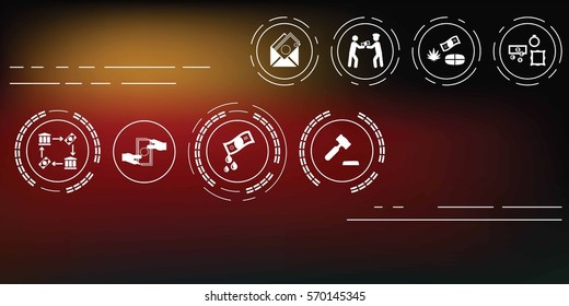 vector illustration of corruption icons set on abstract blurry background