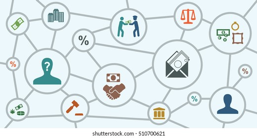 vector illustration of corruption scheme or offshore company managing including bribery embezzlement fraud symbols and icons