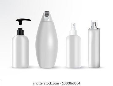 Vector illustration of Cosmetic bottle mock up set isolated packages. on white background.