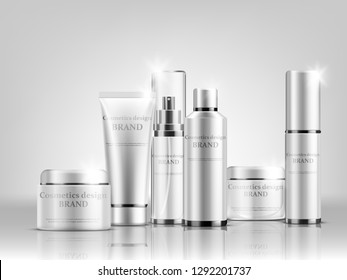 Vector illustration of Cosmetic bottle mock up set isolated packages on grey background