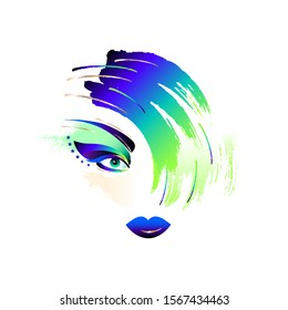 Vector illustration for the cosmetic business. Girl's face. The exotic makeup sample.