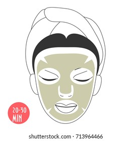 Vector illustration for cosmetic face care in line art style: woman face with Gold Collagen sheet mask on. Gold facial Collagen mask could be lifting, firming, anti aging or anti-toxin.