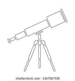Vector illustration: cosmic color book for kids - telescope with tripod isolated on white background. Icon for planetarium, observatory, learning astronomy, astrophysics science and cosmic discovery,