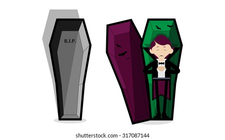 Vector illustration of the Count Dracula sleeping in coffin.  Coffin in open and closed variations.