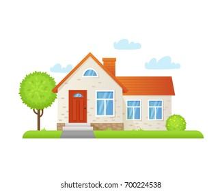 Vector illustration of a country house in a flat style. House icon isolated on a white background