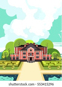 vector illustration  country mansion with a garden around it landscaped, garden maze, trees and bushes in the sky