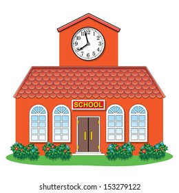 vector illustration of country school building