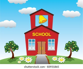vector illustration of country school house and apple trees