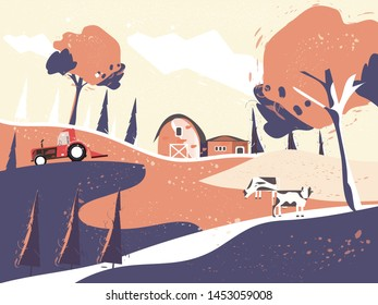 Vector illustration of Countryside landscape in autumn,banner of farm house.The yellow foliage mountain,hill with falling leaves,barn and cow. Concept of organic cattle farm in autumn. in retro color.