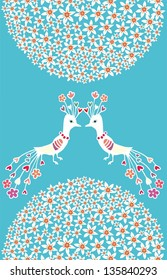 Vector illustration with couple of birds, flowers on blue background