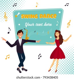 Vector illustration. Couple dancing boogie-woogie or lindy hop. Template for dance party