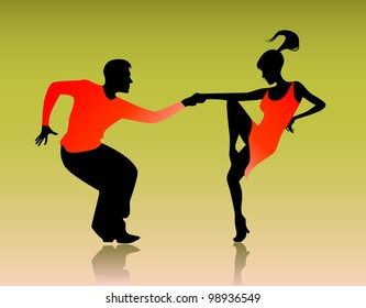 Vector illustration of a couple dancing on green