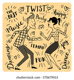 Vector illustration of a couple dancing twist and calligraphy.