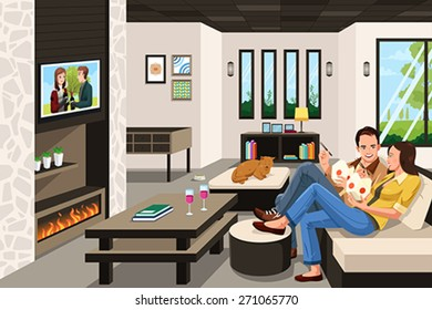 A vector illustration of couple eating take out Chinese food at home