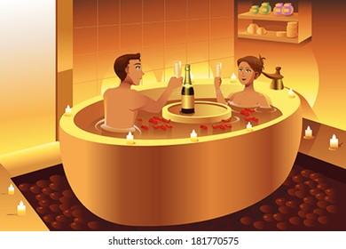 A vector illustration couple enjoying a romantic bath in a bath tub