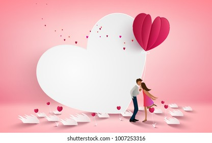 Vector illustration of a couple kissing on white heart background with heart flower on pink floor. Love concept, Valentine's day background. Vector illustration. Wallpaper, invitation, posters,