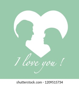 Vector illustration with couple in love. Happy Valentine's Day. Design for party card, banner, poster or print.