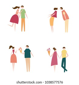 Vector illustration of couple in love. Silhouette of romantic people characters. Cartoon flat vector design for logo, print, card, flyer, fabric, poster.