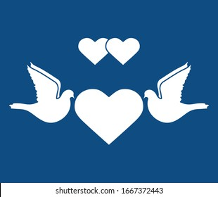 Vector illustration Couple of pigeon with heart Valentine's day, wedding, Birthday, Mother's day, Father's day Romantic background Flying dove bird Love concept Design for greeting card, fabric, print