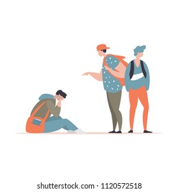 Vector illustration couple students bullying and suppress the guy sitting on the floor. Concept discrimination, racism and negative communication in school