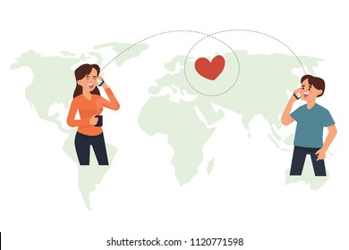 vector illustration of couples have long distance relationship. boy and girl make a phone call together