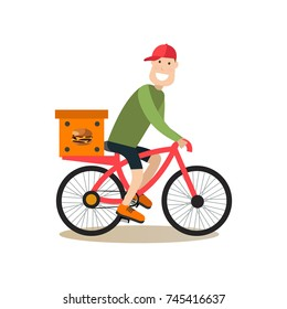 Vector illustration of courier bicycle messenger delivering cardboard box with fast food by bike. Bicycle delivery concept. Food people flat style design element, icon isolated on white background.