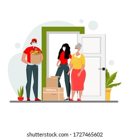 Vector illustration with a courier. A guy in a protective mask and gloves brings the package. The concept of door delivery during an epidemic disease. Isolated on a white background.