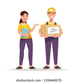 Vector illustration courier holds a box of goods in his hands. Concept free delivery and shipment of cargo