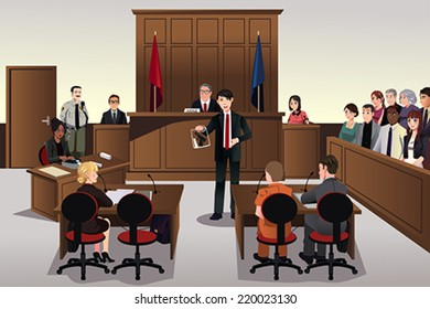 A vector illustration of a court scene