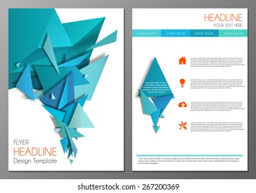 Vector illustration of cover design template for flyer, brochure, booklet or annual report.  Geometric triangular abstract modern design.