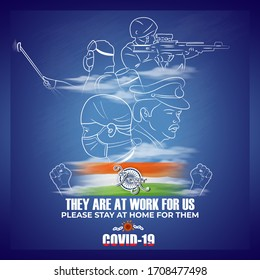 vector illustration for COVID -19 campaign poster with our real heroes with Hindi text Vande Matram means I salute you, Mother