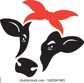 Vector illustration of a cow face and head with red bandana.